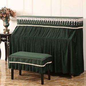 WH-IOE Clavier Couverture Piano Serviette antipoussière Tissu Housse de Protection for Verticale Standard Pianos avec Banc Couverture Piano Cover Vert et café Scratch Anti-poussière