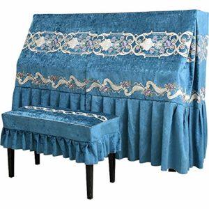 WH-IOE Clavier Couverture Style européen Piano Couverture de en Soie brodé Tissu Piano Chenille antipoussière Universel Bleu Serviette Scratch Anti-poussière (Color : Blue, Size : 155x38x125cm-S)