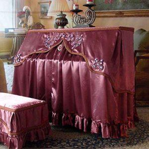 WH-IOE Clavier Couverture Vintage Textile Style européen Piano Couverture avec Banc Piano Couverture Anti-poussière Blemish Scratch Housse de Protection Violet Scratch Anti-poussière