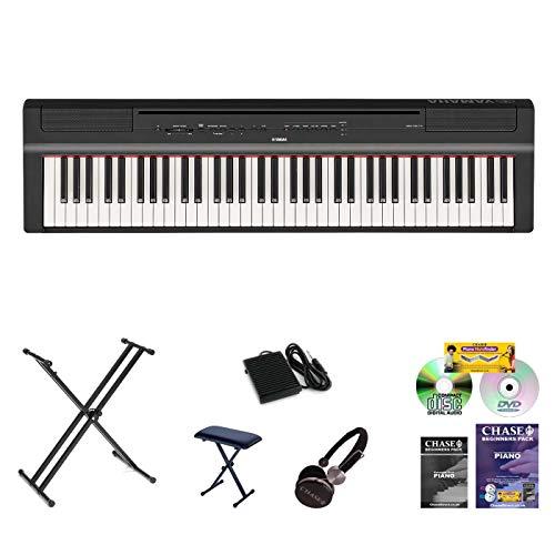 Yamaha P121 Piano de scène numérique avec support double XX, banc, écouteurs, livre, CD et DVD, alimentation et repose-musique Noir