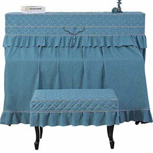ZDAMN Housse de protection en coton pour piano style européen anti-poussière et anti-poussière, Lin de coton, bleu, 60 x 40 cm