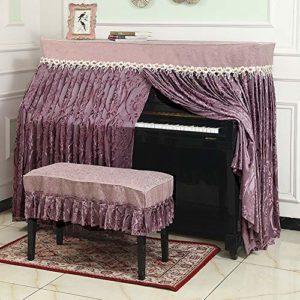 ZDAMN Housse de protection pour piano en plastique avec banc et couvercle anti-poussière pour piano standard anti-poussière, Lin, pourpre, 153x34x120cm-S