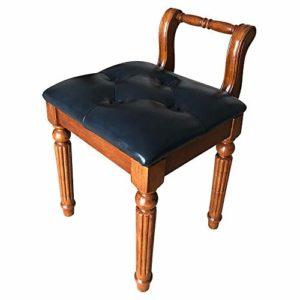ZDAMN Tabouret de piano de style américain solide Table Guzheng Chaussures Tabouret de coiffeuse en tissu européen, PU, bleu, Taille unique