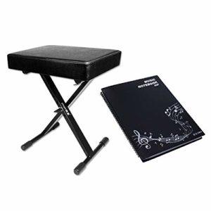 ZDAMN Tabouret de piano électronique réglable 1 personne Banc de piano pliable Guzheng Erhu Guitare, PU, Noir , 43x30x53cm
