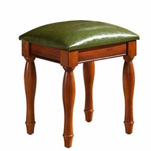 ZDAMN Tabouret de piano en cuir PU Banc de piano Style américain Table Manucure Chaise en bois Piano Clavier Banc, PU, Vert, 38×31.8x42cm