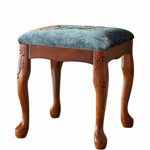 ZDAMN Tabouret de piano style américain en bois massif Banc de piano clavier Banc de coiffeuse Table de manucure, Bois dense, bleu, 38x38x42cm