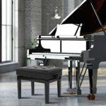 Zoternen Banc de Piano avec Compartiment de Rangement, Chaise pour Piano avec Coussin épais et Doux en Cuir, Hauteur réglable Noir