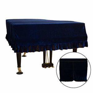 ZQEDY Housse Piano Accueil Antique Scratch Protection Or Velours Antipoussière Lavable Bordé Doux Macramé Pratique Triangle Résistant À La Saleté Décoré(MBleu)