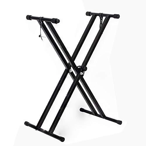ZZRS Double -X Piano Support Robuste, réglable, Musique Portable Ultra-léger Clavier électrique Piano Affichage Rack Performance Instrument de Musique (Color : Black, Size : L)