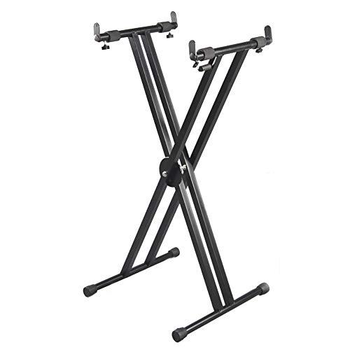 ZZRS Stand Piano réglable, Double -X Robuste Portable, for la Musique Clavier Piano électrique X-Stand Display Rack Performance Instrument de Musique (Color : Black)