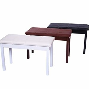 Banc de clavier Piano Stool Double Piano Universal Piano en bois Tabouret Bibliothèque PU Tabouret Piano en bois massif Tabouret Deluxe Piano Tabouret ( Color : Elegant white , Size : 75x37x48cm )