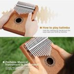 CHENTAOMAYAN 17 Touches Kalimba Thumb Piano Finger Piano Musical Toys avec Tune-Hammer et Livre Musique (Color : Mahogany Color)