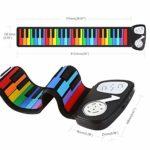Clavier de piano électronique, Numérique Roll Up Keyboard Piano Rainbow 49 Standard Keys Silicium Souple Électrique for Les Enfants Pliable Flexible Avec 8 Ton 6 Chansons De Démo Enregistrement Jouer