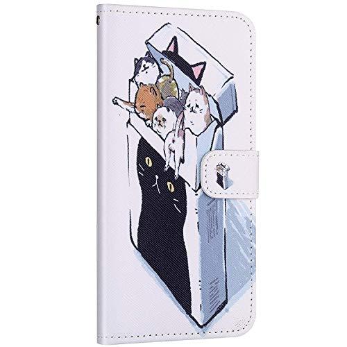 Compatible avec Samsung Galaxy A40 Etui en Cuir Coque Pochette Portefeuille Housse Motif Coloré Coque avec Support Stand Porte-Cartes Rabat Magnétique Clapet Flip Case,Cute Chat