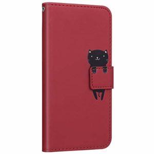 Compatible avec Samsung Galaxy M30S Coque Pochette Portefeuille en Cuir Housse Etui à Rabat Animés Animaux Motif Flip Case Magnétique Porte-Carte Fonction de Support,Chat Rouge