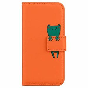 Coque Galaxy A21 Porte-Cartes [Béquille] [Fentes pour Cartes] [Fermoir Magnétique] Étui à Rabat Housse en Cuir pour Samsung Galaxy A21 – TTHM010137 Orange