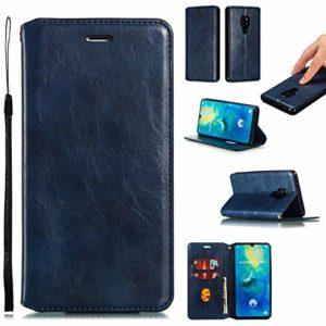 Coque Huawei Mate 20 Porte-Cartes [Béquille] [Fentes pour Cartes] [Fermoir Magnétique] Étui à Rabat Housse en Cuir pour Huawei Mate20 – TTYKB020259 Bleu