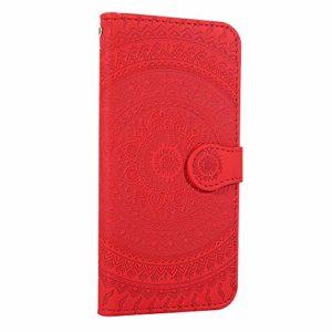 Coque Xiaomi Redmi 8A Porte-Cartes [Béquille] [Fentes pour Cartes] [Fermoir Magnétique] Étui à Rabat Housse en Cuir pour Xiaomi Redmi 8A – TTHM020738 Rouge
