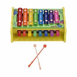 Doolland Xylophone Multifonctionnel 2 en 1 en Bois Glockenspiel 8 Notes