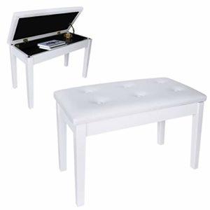 DoubleBlack Tabouret Piano 2 Places avec Coffre Banc Siege Piano Double, Chaise Pied en Bois Massif-Blanc