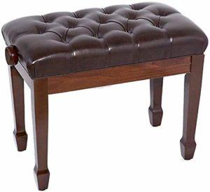 FFSM Tabouret de piano double pied droit en cuir avec étagère, tabouret de piano réglable en bois massif pour enfant, noix, 80x35x55cm