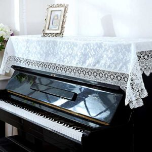 Housse de Piano Dentelle Piano Droit Couverture Tissu brodé Piano Serviette décoratif Tissu poussière Defect Scratch Feel Élégant et Confortable (Couleur : Blanc, Size : 90x180cm)