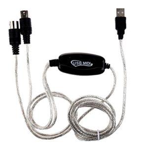 Huante Câble interface MIDI USB IN-OUT Convertisseur PC vers clavier de musique