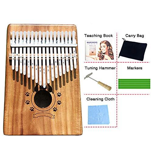 Kalimba 17 Touches Bambou/Acacia/Acajou Pouce Piano Marimbas Doigt Piano Kits De DéMarrage Instrument Africain Pour Enfants Sac Cadeau Adulte Tuning Marteau Marqueurs,Acacia-Devil