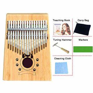 Kalimba 17 Touches Bambou/Acacia/Acajou Pouce Piano Marimbas Doigt Piano Kits De DéMarrage Instrument Africain Pour Enfants Sac Cadeau Adulte Tuning Marteau Marqueurs,Bamboo-Devil