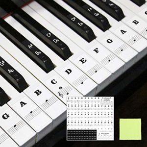 Matogle Autocollant de Note pour Piano Sticker Auto-adhésif de Touches Noires et Blanches Transparent pour Enfant Débutant de Clavier 37,49,54,61,88 avec Chiffon d'Essuyage