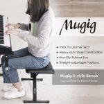Mugig Banc pour clavier de piano 3 touches réglables en hauteur avec cuir 35 mm Tabouret pour clavier pratique pour piano