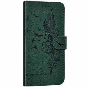 NSSTAR Compatible avec Huawei Mate 30 Étui Housse en Cuir Portefeuille Coque Magnétique Flip Cover Fentes de Cartes Plume oiseau Motif Pochette Coque Protection avec à Rabat Stand,Vert