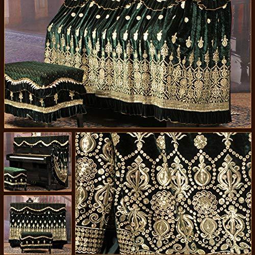 Tissu De Couverture De Piano Complet Ice soie coréenne Toison broderie Piano PARFAITEMENT Tissu dentelle broderie Tissu avec antipoussière Tabouret Couverture ( Couleur : Vert , Taille : 56x36cm )