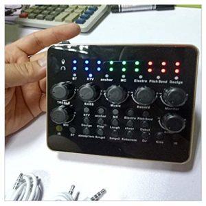 YYZLG V10 Live Sound Card Microphone, Une variété d'effets sonores intéressants, mélangeur de karaoké Portable, adapté à la télévision/PC et à l'amplificateur-Noir