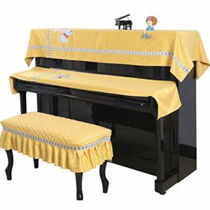 ZDAMN Housse de piano universelle design minimaliste en polyester Housse de protection pour piano Lot de 3 serviettes avec couvercle anti-poussière anti-rayures, Polyester, Jaune, 57x37cm