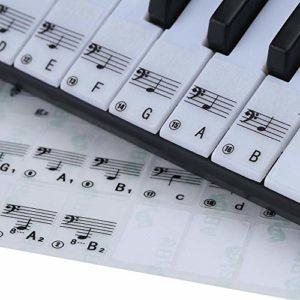 ABMBERTK 88 Touches Piano Stave Note Autocollant, pour Les Touches Blanches Clavier Autocollant Accessoires pour Piano, comme Image