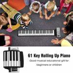 CLISPEED Roll up Piano Keyboard 61 Touches Piano Clavier Portable Piano Électronique à Main avec Haut-Parleur pour Enfants Adulte (Sans Batterie)