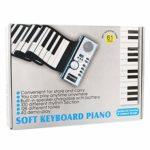 CLISPEED Roll Up Piano Keyboard Portable 61 Touches Piano Keyboard Electronic Hand Roll Piano avec Haut-Parleur pour Enfants Adultes (Sans Batterie)