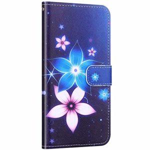 Compatible avec Samsung Galaxy A40 Coque Housse en Cuir PU Portefeuille Étui Motif Coloré Coque de Protection avec Fonction Stand Magnétique Rabat Coque Porte-Cartes,Fleur Bleu