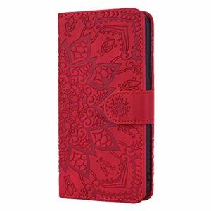 Coque Galaxy A50 / A50S / A30S Porte-Cartes [Béquille] [Fentes pour Cartes] [Fermoir Magnétique] Étui à Rabat Housse en Cuir pour Samsung Galaxy A50 – TTHF010129 Rouge