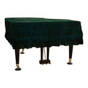 Couverture de piano à queue bordée de tissu protecteur de poussière, couverture européenne classique de piano de velours d'or (Color : Dark green, Size : 230cm)