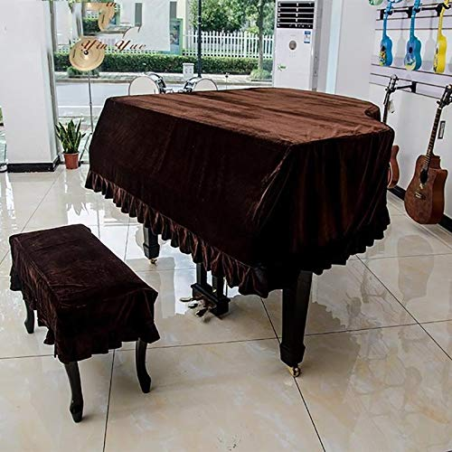 Couverture de piano à queue Couverture de tabouret complète Couverture anti-poussière Couverture de piano en tissu de velours épais (Color : Brown+single stool set, Size : 230cm)
