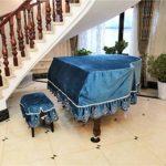 Couverture européenne brodée de piano à queue Couverture de piano de velours de coton Couverture de poussière (n'importe quelle taille) (Color : Blue, Size : Develop size)