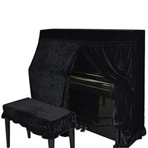 Domii. Home Housse de piano poussière en velours et Piano Banc de double Coque décoré avec macramé Protègent de la poussière et des rayures noir