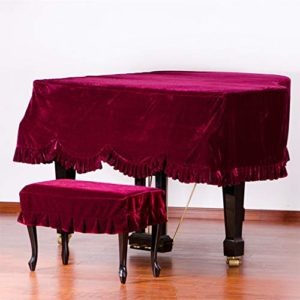 G-AO cas de style européen classique couverture du clavier piano à queue velours or piano ne se fanent pas et s'épaissir (couleur: rouge, taille: 190cm) (Size : Piano Cover+Single Chair Cover)