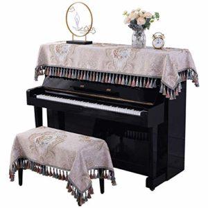 Housse de Piano Piano européenne Couverture Tissu rectangulaire poussière Serviette Couverture 88 Clé de Protection Piano Droit décoratif Tissu Peut être lavé et Durable Feel Élégant et Confortable