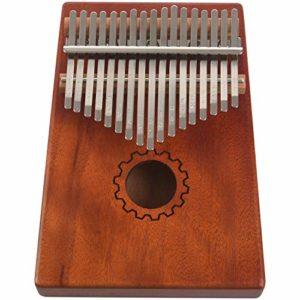 JVSISM Kalimba Pouce Piano 17 Touches Avec Acajou En Bois Avec Sac, Marteau Et Livre De Musique, Parfait Pour Melomane, Debutants, Enfants