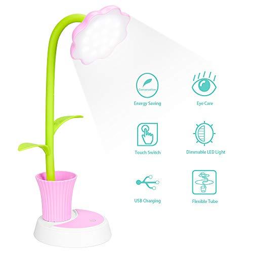 Lampe de bureau pour enfants, lampe de bureau LED, lampe de chevet dimmable avec capteur tactile, lampe de lecture aux yeux avec porte-stylo, lampe de table USB rechargeable pour enfants (rose)