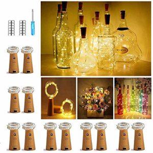 【Lot de 12 pièces】 Nasharia 20 LED 2 m lumière de bouteille blanc chaud guirlandes lumineuses d'ambiance en fil de cuivre Mini fil de cuivre, éclairage étoile à piles pour bouteille DIY, fête