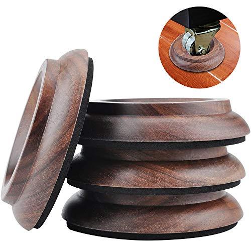 Lot de 4 tasses à roulettes en bois dur pour piano en bois de noyer véritable